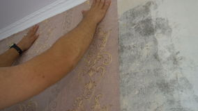 The process of gluing Wallpaper on the wall,the hand of the worker is smooth Wallpapers.  stock video