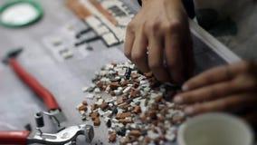 Process hand-made stone turkish mosaic stock video footage