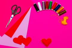 Process of handmade Present for Valentine`s day on pink background Stock Photography