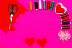 Process of handmade Present for Valentine`s day on pink background Royalty Free Stock Photography