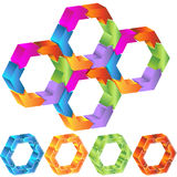 Process Hexagon Diagram. 3D hexagon shapes with roating arrows Stock Images