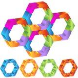 Process Hexagon Diagram. 3D hexagon shapes with roating arrows vector illustration