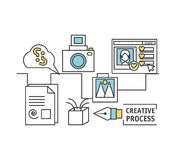 Process ideas to creative imagination and innovation. Vector illustration Royalty Free Stock Image
