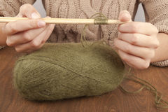 Process of knitting Royalty Free Stock Images