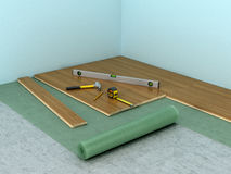 The process of laying laminate flooring in the room. 3D illustration Royalty Free Stock Images