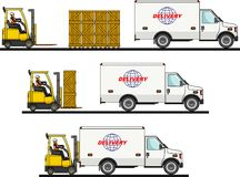 The process of loading with forklift, truck, van and boxes isolated on white background in flat style. Vector Royalty Free Stock Photo