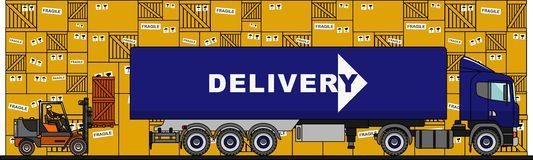 The process of loading with forklift, truck, van and boxes  on white background in flat style. Vector Stock Image