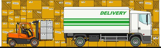 The process of loading with forklift, truck, van and boxes  on white background in flat style. Vector Stock Images