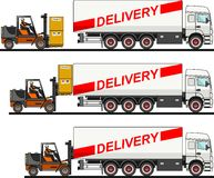The process of loading with forklift, truck, van and boxes  on white background in flat style. Vector Royalty Free Stock Photography