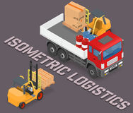 Process of loading and unloading the trucks with a forklift. Isometric vector illustration stock illustration