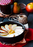 Process of making apple tart with pear jam and caramel Royalty Free Stock Image