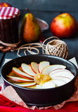 Process of making apple tart with pear jam and caramel. French dessert Stock Photography