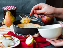 The process of making apple tart with pear jam. French dessert Royalty Free Stock Image