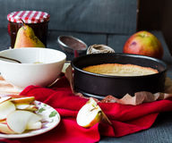The process of making apple tart with pear jam Stock Photo