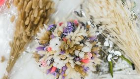 The process of making a bouquet. Colorful bouquet of different dried flowers deadwood flowers in the hands of florist. Colorful bouquet of different dried royalty free stock images
