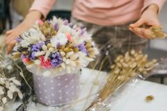 The process of making a bouquet. Colorful bouquet of different dried flowers deadwood flowers in the hands of florist. Colorful bouquet of different dried royalty free stock photo