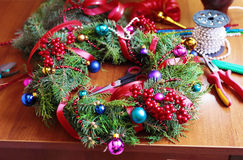 Process of making christmas wreath Royalty Free Stock Photos
