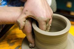 Making clay pots Royalty Free Stock Images