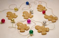 Christmas gingerbread man making process stock photos