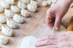 The process of making dumplings royalty free stock photography
