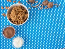 Making homemade candies with coconut and kakao powder. Process of making homemade candies Royalty Free Stock Photo
