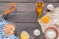 The process of making homemade mayonnaise. Eggs, oil, and other ingredients. Royalty Free Stock Photos