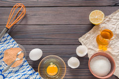 The process of making homemade mayonnaise. Eggs, oil, and other ingredients. Royalty Free Stock Images