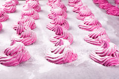 The process of making homemade pink marshmallow Royalty Free Stock Photography