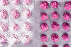 The process of making homemade pink marshmallow Royalty Free Stock Image