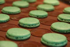 Process of making macarons. Just finished green macarons on silicone baking sheet. stock images