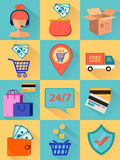 Process of making order. Set. Of vector illustrations Royalty Free Stock Photos