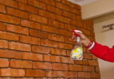 Process of making a red brick wall, home renovation royalty free stock photo