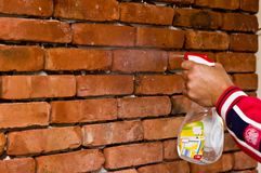 Process of making a red brick wall, home renovation royalty free stock images
