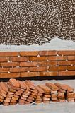 Process of making a red brick wall, home renovation stock photo