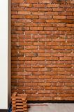 Process of making a red brick wall, home renovation stock image