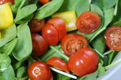 Making Homemade Salad with Spinach, Tomatoes and Yellow Pepper. Process of making some homemade healthy and delicious salad. At this point there is spinach royalty free stock photos