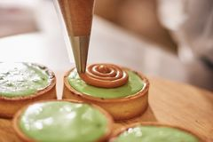 Process of making tart with salted caramel french dessert. Food industry, mass or volume production. Pastry chef making dessert stock photos
