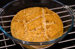 Making of homemade round bread Royalty Free Stock Photo