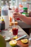 Process of making Thai lemon tea Royalty Free Stock Photo