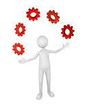 Process Management. Person juggling gears; great for process management, business, industry concepts Royalty Free Stock Images