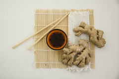 Process of marinating fresh ginger Stock Image