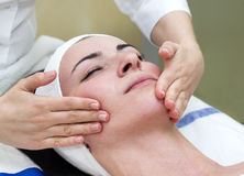 Process of massage and facials. In beauty salon Royalty Free Stock Photo
