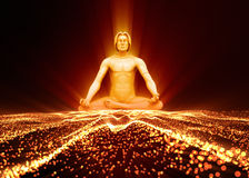Process of meditation. The soul of a man meditating in the astral plane Stock Photos