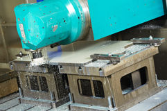 Process of metal machining by mill Stock Photo