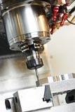 Process of metal machining by mill Royalty Free Stock Photography