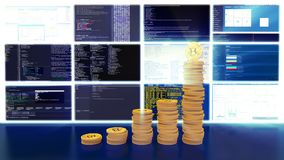 Process of mining bitcoins, blue light rays, loop. Visualization of the process of computing data for mining bitcoins and other cryptocurrencies. The data royalty free illustration