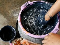 Process mix material for preparing natural colors Mauhom or indigo color of Indigenous and wisdom knowledge of thai people. At Sakom nakorn and Phrae in basin stock photo