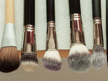 Process Of Cleaning Drying Makeup Brushes Stock Photos