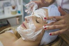 Process Of Professional Face Massage Stock Photo