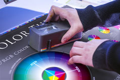 The process of offset printing and color correction Stock Photo